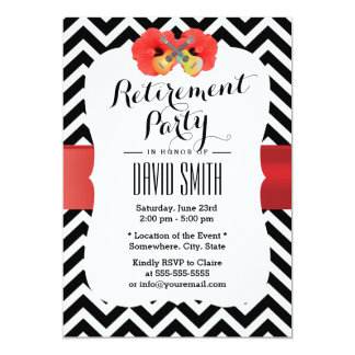 Classy Chevron Hibiscus & Ukulele Retirement Party Card