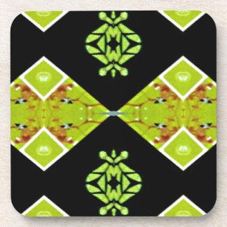 Classy Chic Black Lime Modern Pattern Coaster