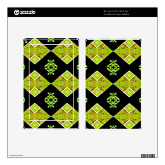 Classy Chic Black Lime Modern Pattern Decal For Kindle Fire