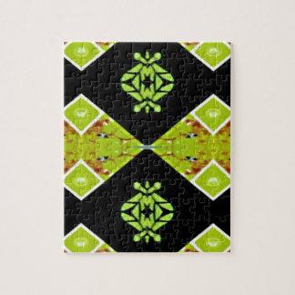 Classy Chic Black Lime Modern Pattern Jigsaw Puzzle