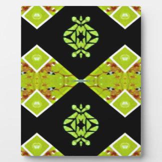 Classy Chic Black Lime Modern Pattern Plaque
