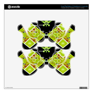 Classy Chic Black Lime Modern Pattern PS3 Controller Decals