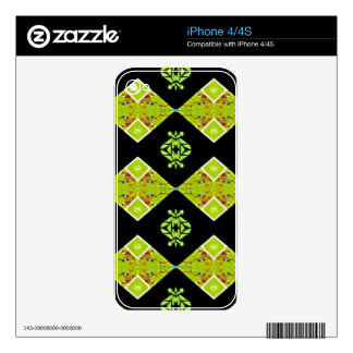Classy Chic Black Lime Modern Pattern Skin For iPhone 4