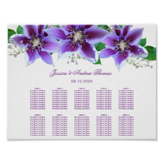 Classy Chic Clematis Wedding Seating Chart