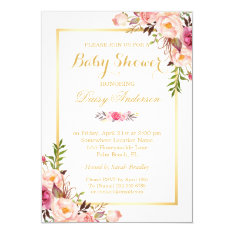 Classy Chic Floral Golden Frame Baby Shower Card at Zazzle
