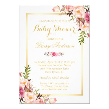 Toddler & Baby themed Classy Chic Floral Golden Frame Baby Shower Card