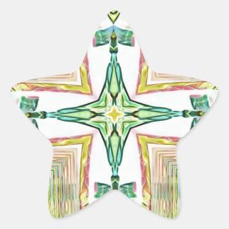 Classy Chic Pastel Cross Modern Pattern Star Sticker
