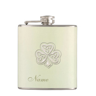 Classy chic pearl lucky shamrock personalized hip flask
