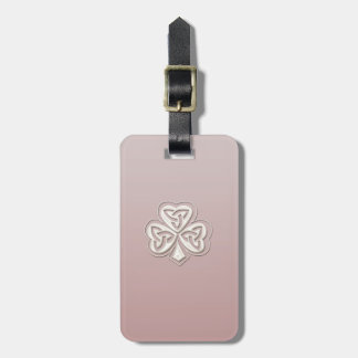 Classy chic pearl lucky shamrock personalized luggage tags