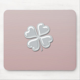 Classy chic pearl lucky shamrock personalized mouse pad