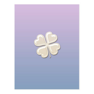Classy chic pearl lucky shamrock personalized postcard