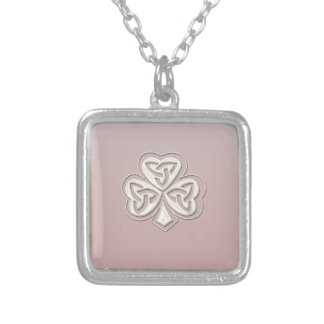 Classy chic pearl lucky shamrock personalized silver plated necklace