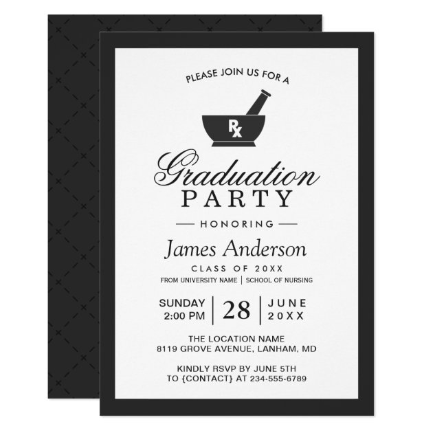 Classy Chic Pharmacy School Graduation Party Card