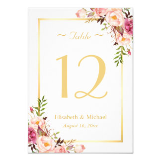 Classy Chic Pink Floral Gold Wedding Table Number