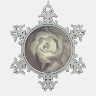 Classy Chic Winter Wedding Rose Snowflake Pewter Christmas Ornament