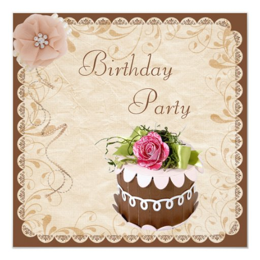 Classy Chocolate Cake & Rose Birthday Party Custom Invites