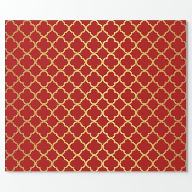 classy christmas gold red quatrefoil geometric wrapping paper - Elegant Christmas Wrapping Paper