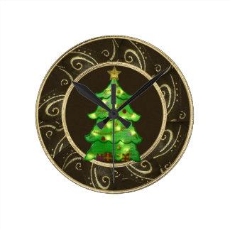 Classy Christmas Tree with Lights Clock