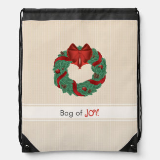 Classy Christmas Wreath Drawstring Bag