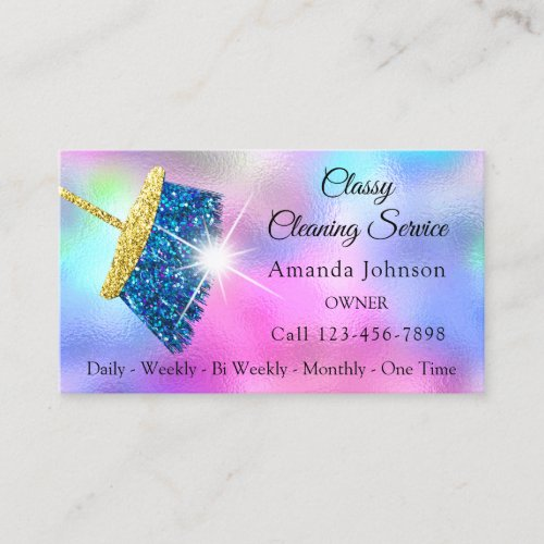 Classy Cleaning Service Maid Gold Blue Ocean Pink Business Card