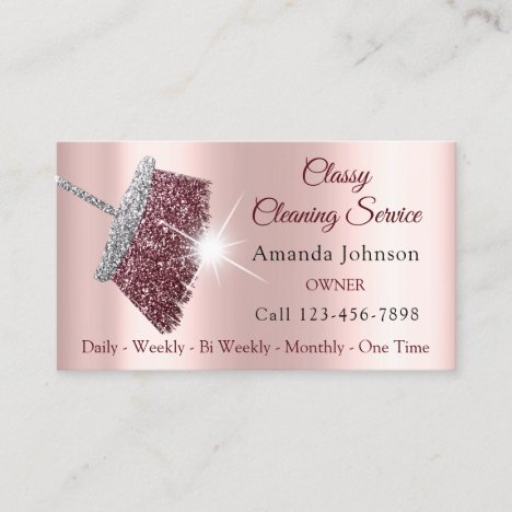 Classy Cleaning Service Maid Rose Silver Pink Business Card