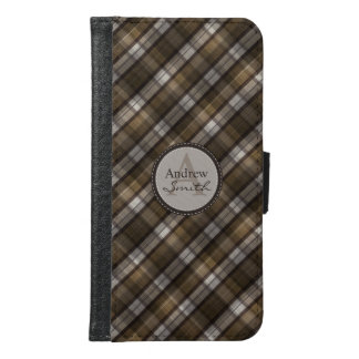Classy Coffee-Brown Plaid Monogram Samsung Galaxy S6 Wallet Case