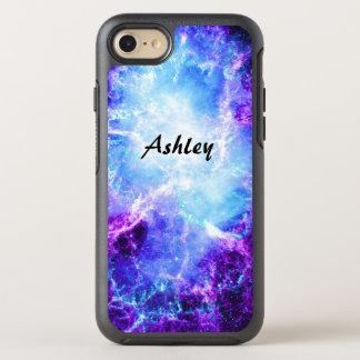 Classy Cool Blue Purple Space Galaxy Stars OtterBox Symmetry iPhone 7 Case