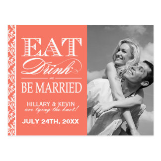 Classy Coral Damask Save the Date Post Cards