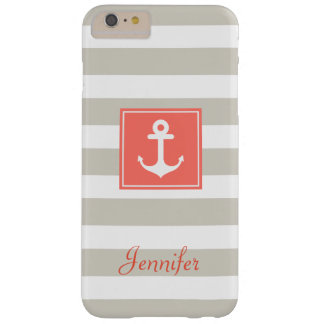 Classy Coral Nautical Anchor Beige White Stripes Barely There iPhone 6 Plus Case