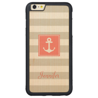 Classy Coral Nautical Anchor Beige White Stripes Carved® Maple iPhone 6 Plus Bumper Case