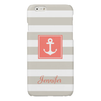 Classy Coral Nautical Anchor Beige White Stripes Glossy iPhone 6 Case