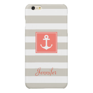 Classy Coral Nautical Anchor Beige White Stripes Glossy iPhone 6 Plus Case