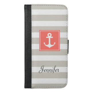 Classy Coral Nautical Anchor Beige White Stripes iPhone 6/6s Plus Wallet Case