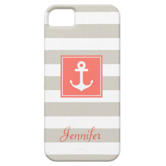 Classy Coral Nautical Anchor Beige White Stripes iPhone SE/5/5s Case