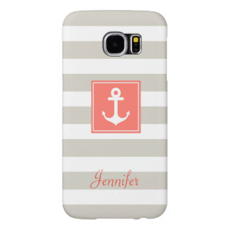 Classy Coral Nautical Anchor Beige White Stripes Samsung Galaxy S6 Cases