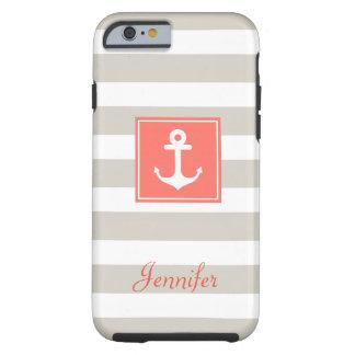 Classy Coral Nautical Anchor Beige White Stripes Tough iPhone 6 Case