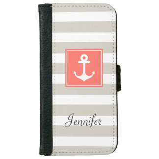 Classy Coral Nautical Anchor Beige White Stripes Wallet Phone Case For iPhone 6/6s
