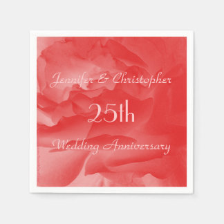 Classy Coral Pink Rose, 25th Wedding Anniversary Paper Napkin
