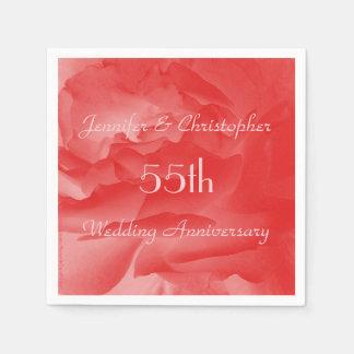 Classy Coral Pink Rose, 55th Wedding Anniversary Napkin