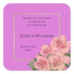 Classy Corner Floral & Glitter Confetti Birthday  Square Sticker