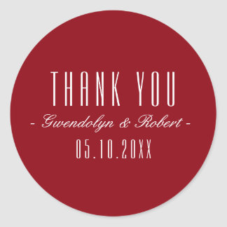 Classy Cursive and Narrow Font - Burgundy Red Classic Round Sticker
