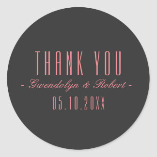 Classy Cursive and Narrow Font - Pink Gray Classic Round Sticker