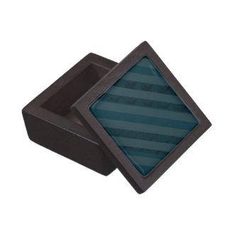 Classy Custom Dark Aqua & Navy Blue - Stripes Keepsake Box
