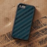 Classy Custom Dark Aqua & Navy Blue - Stripes Tough Xtreme iPhone 6 Case