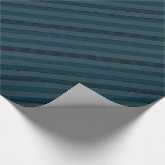 Classy Custom Dark Aqua & Navy Blue - Stripes Wrapping Paper
