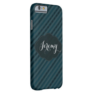 Classy Custom Monogram Aqua Navy Blue iPhone Case Barely There iPhone 6 Case