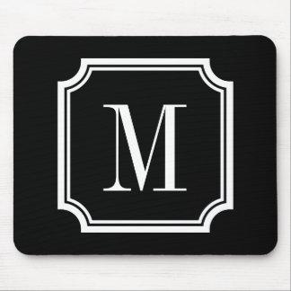 Classy custom monogram mouse pad | Black and white