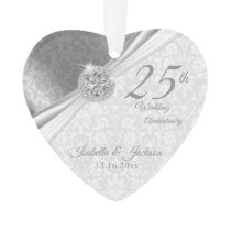 Classy Damask - 25th Silver Wedding Anniversary Ornament