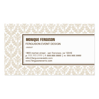 Classy Damask Business Card - Khaki