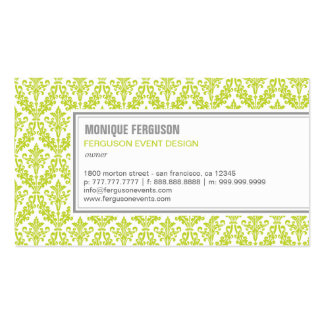 Classy Damask Business Card - Lime